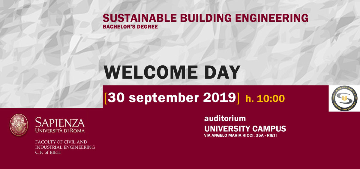 Welcome Day del Corso di Laurea in Sustainable Building Engineering